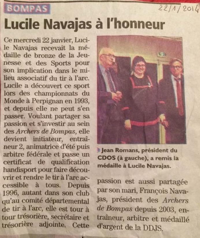 22/01/2014 Médaille DDJS Lucile