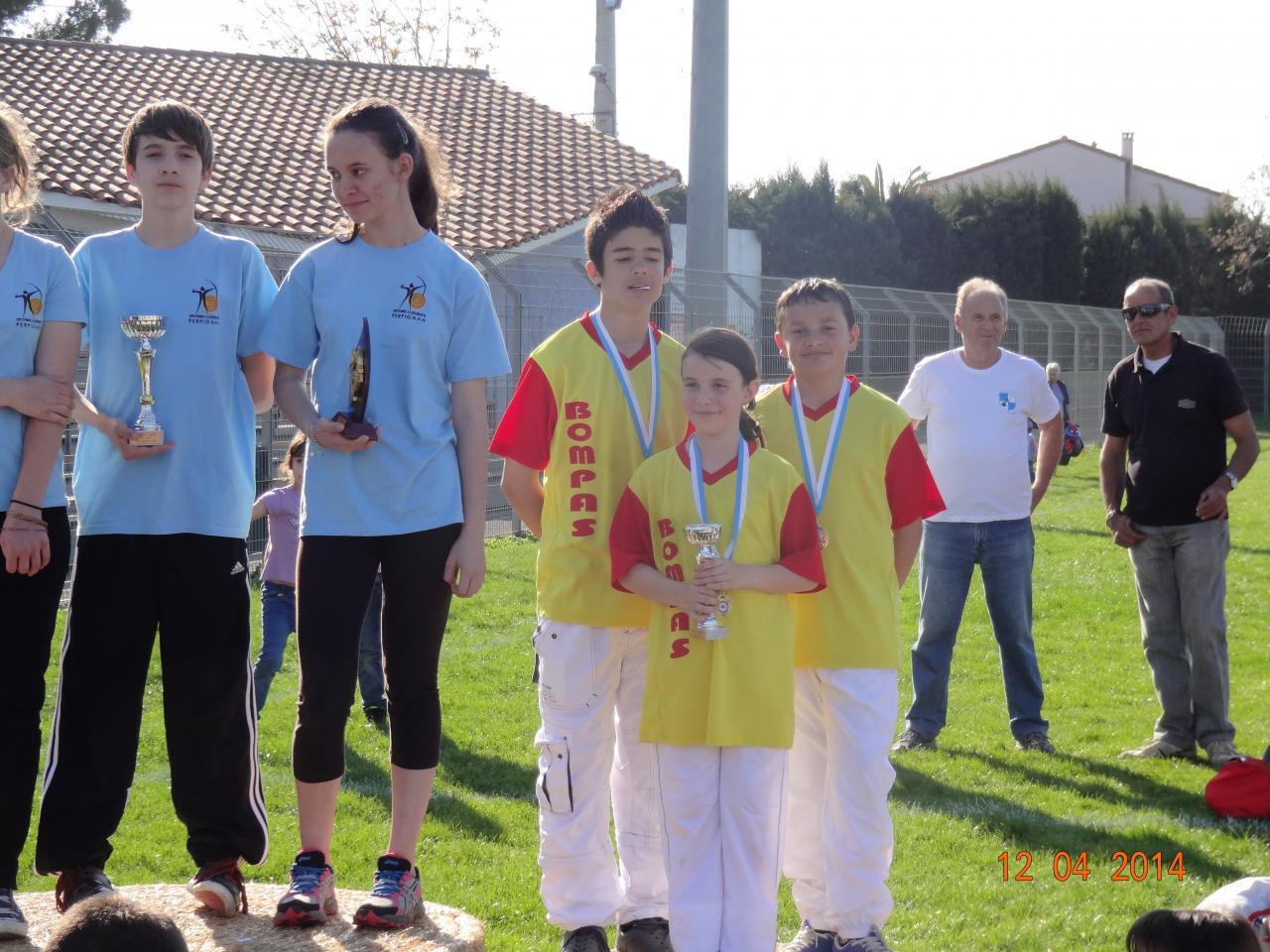 Jeunes archers: 3° par équipe de club (Ste Marie 12/04/14)